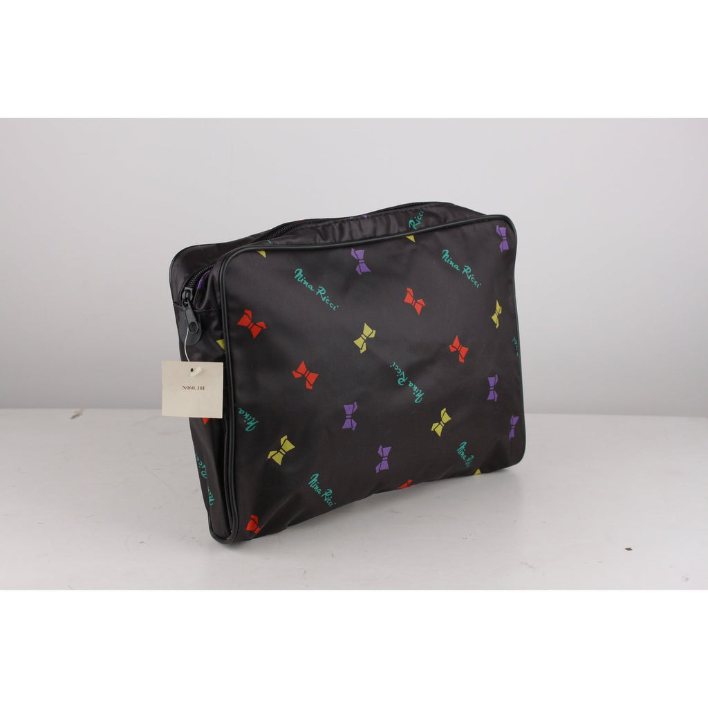 Nina Ricci Vintage Black Canvas Bow Print Trousse Cosmetic Bag