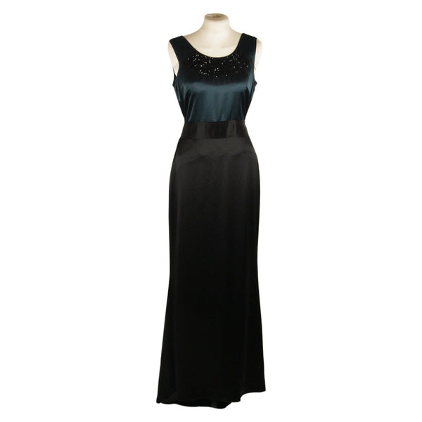 Vera Wang Lavender Label Green and Black Satin Evening Dress Size 4