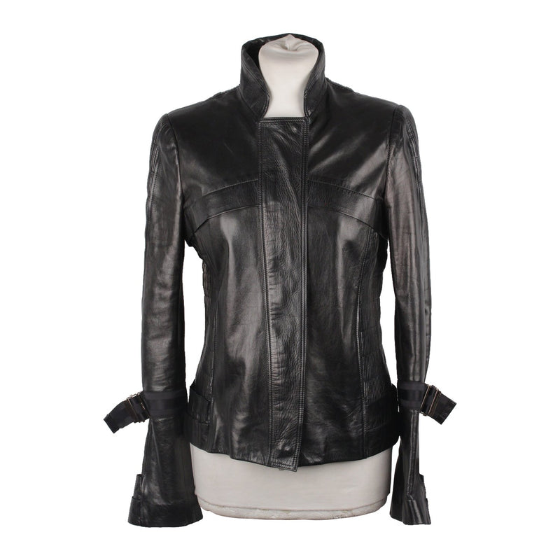 Gucci Leather Biker Jacket with Pintucked Panels