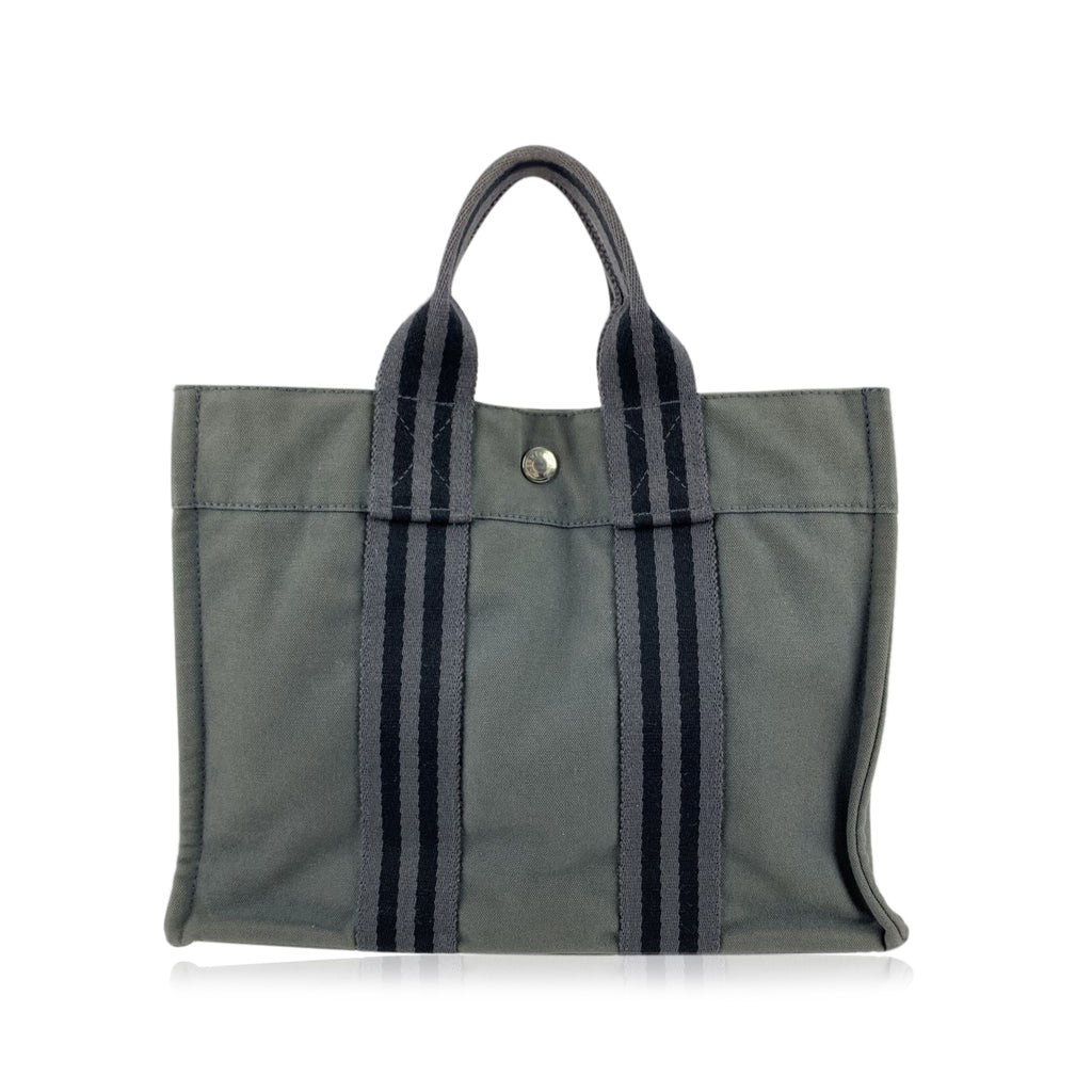 Hermes Paris Vintage Grey and Black Cotton Fourre Tout PM Tote Bag