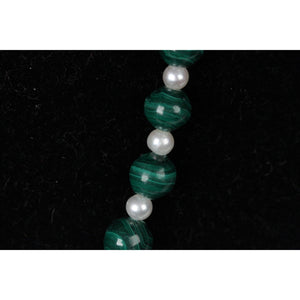 VINTAGE Handmade Green MALACHITE & Freshwater PEARLS NECKLACE