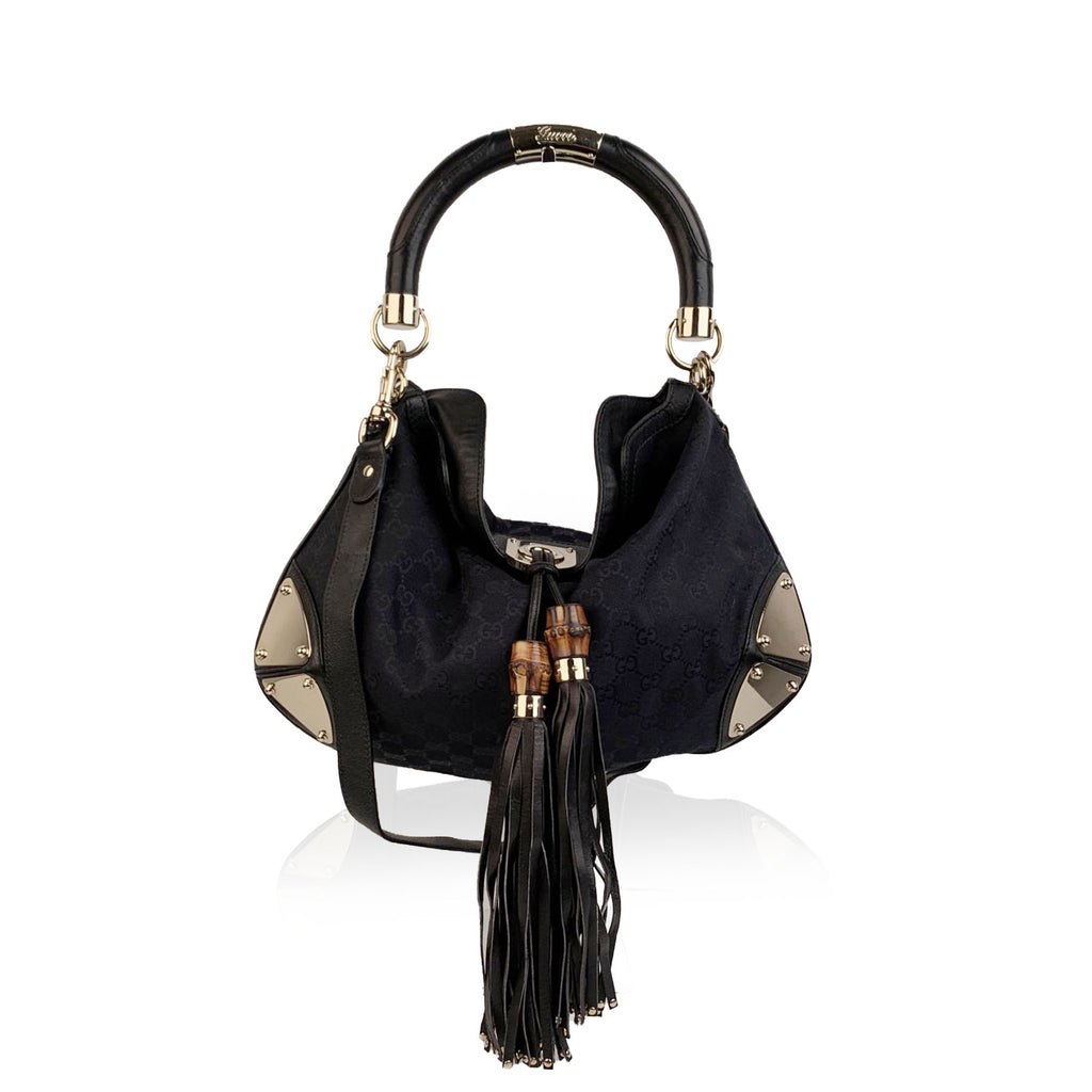 Gucci Black Monogram Canvas Indy Hobo Bag with Tassels with Defects