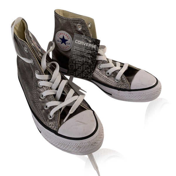 Converse All Star Chuck Taylor Silver High Shiny Metal Sneakers 5.5