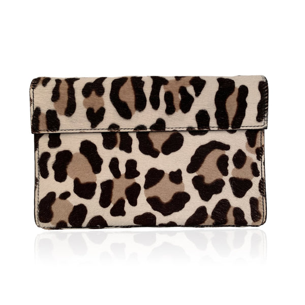Alaia Leopard Animalier Pony Hair Clutch Bag Handbag