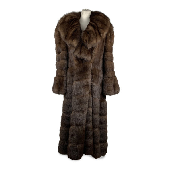 Furio Pellicce  Vintage Brown Zibeline Sable Fur Long Coat