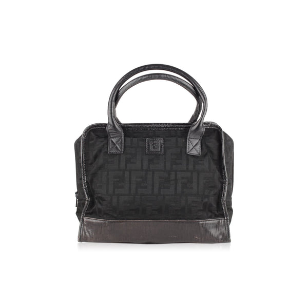 Fendi Vintage Black Monogram Canvas Satchel Bag