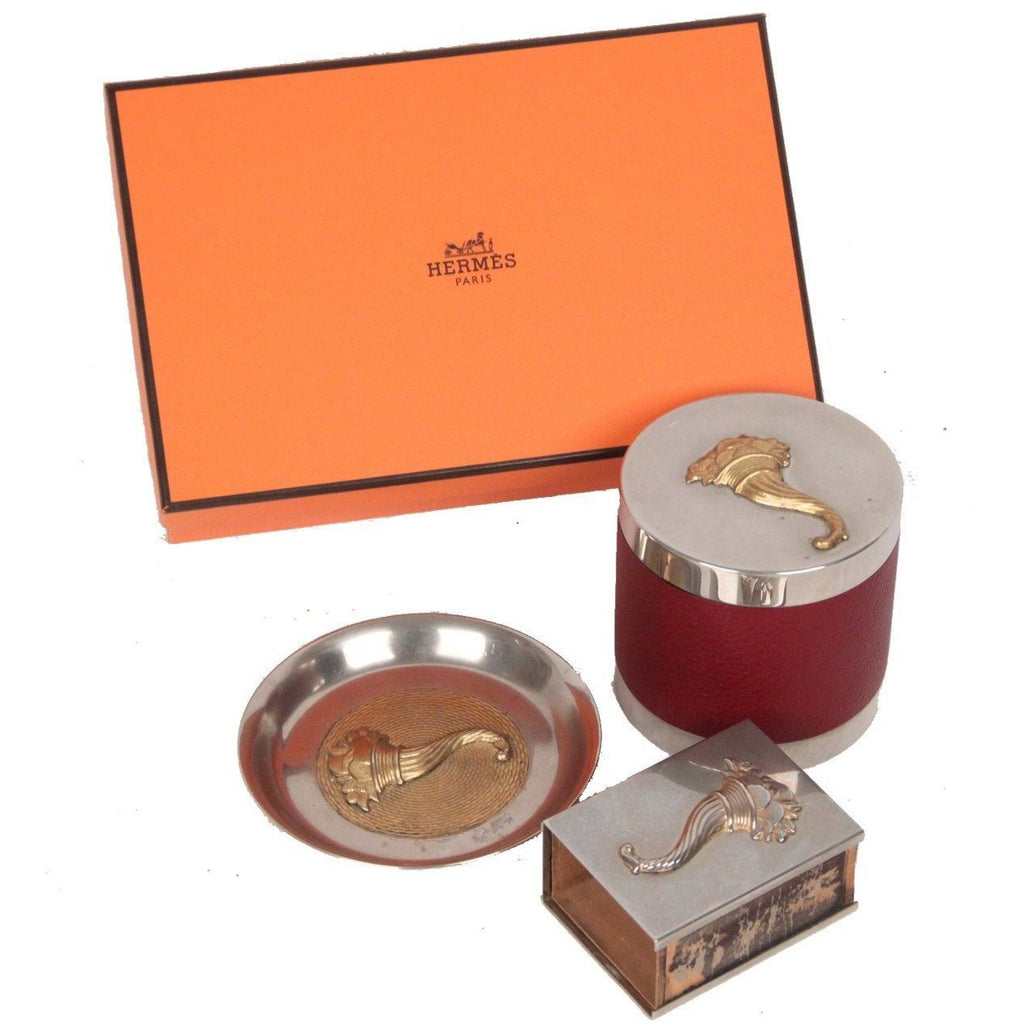 Hermes Paris Vintage Silver Metal CORNUCOPIA 3 Pieces SMOKING SET