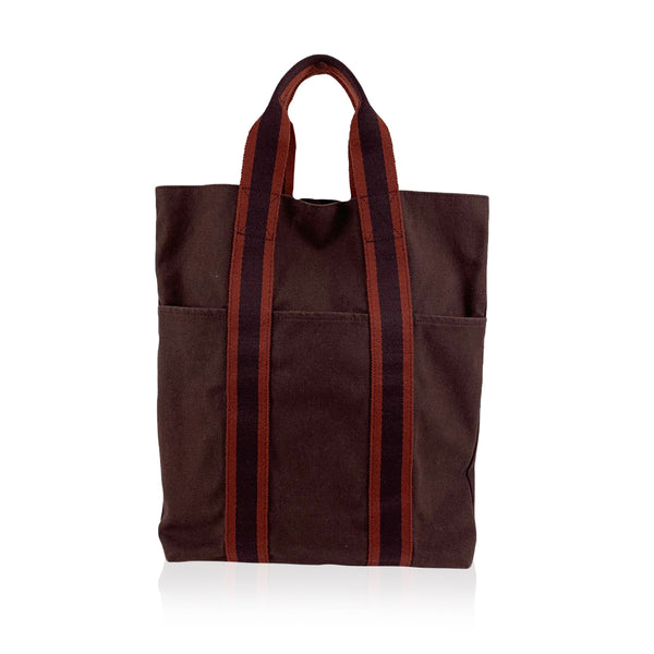 Hermes Paris Vintage Brown Red Fourre Tout Vertical Shopping Bag Tote