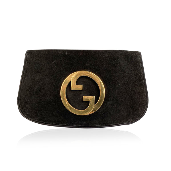 Gucci Vintage Black Suede Blondie Logo Clutch Bag Pochette