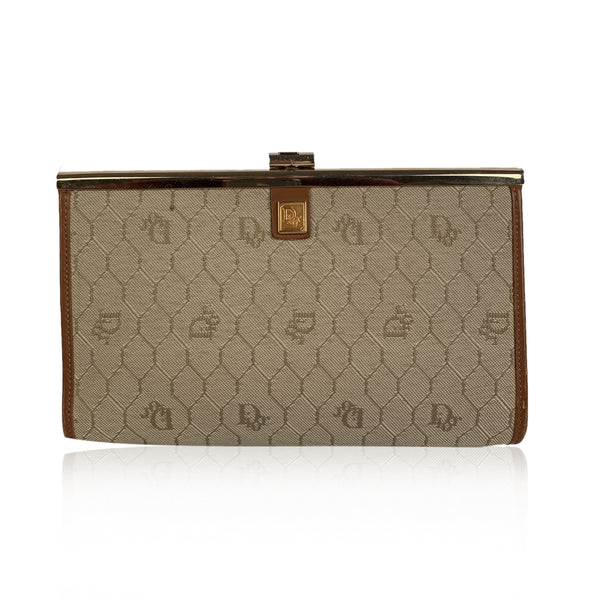 Christian Dior Vintage Beige Logo Canvas Small Clutch Bag
