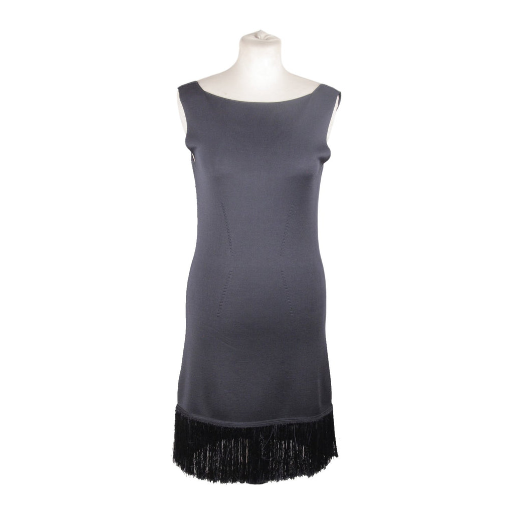 Prada Navy Blue Knit Sleeveless Dress with Fringes Size 42 - OPHERTY & CIOCCI