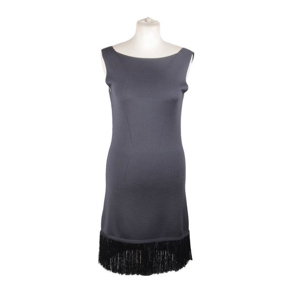 Prada Navy Blue Knit Sleeveless Dress with Fringes Size 42