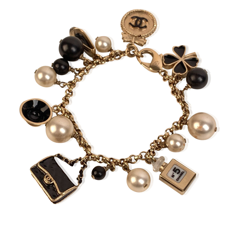 Chanel Gold Metal Faux Pearl and Iconic Charm Bracelet