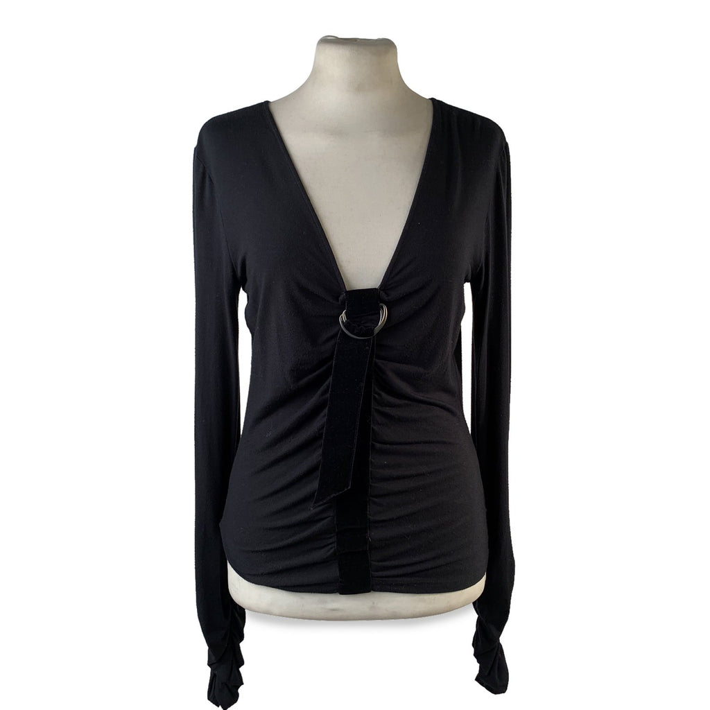 Valentino Black Viscose Long Sleeve Top with Draping Size 44 - OPHERTY & CIOCCI