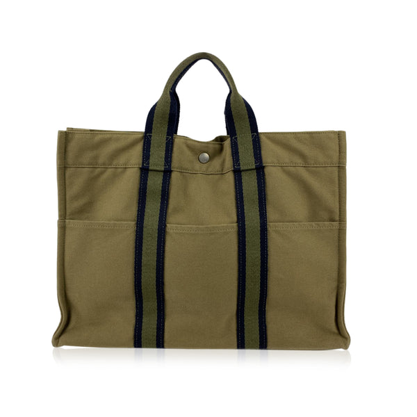 Hermes Paris Military Green Cotton Fourre Tout MM Tote Bag