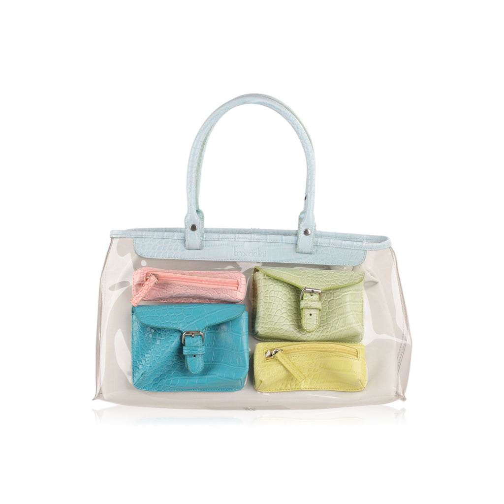 Braccialini Clear 2 in 1 Tote Shoulder Bag Multicolored Pockets