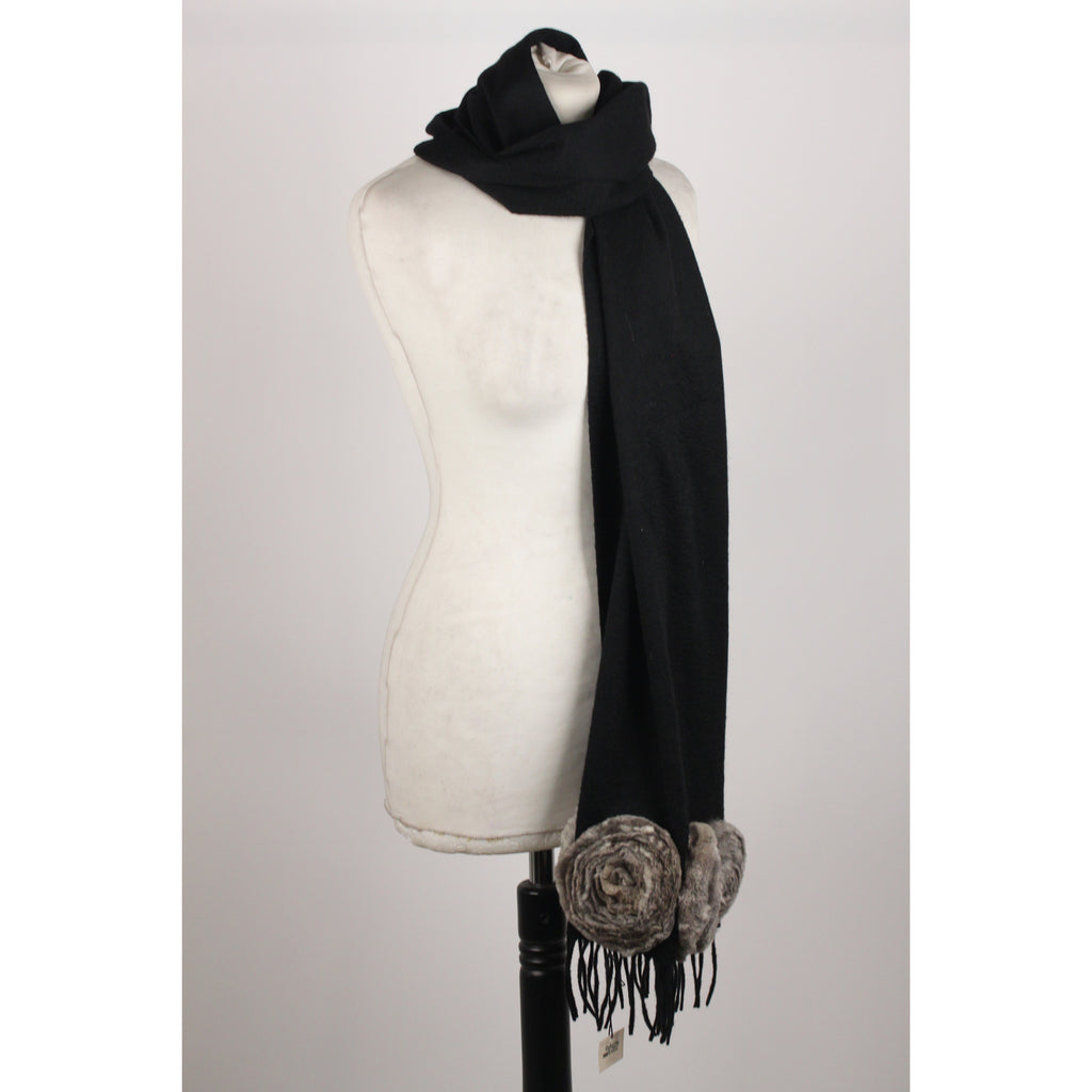 Cashmere Scarf  Fur Flowers