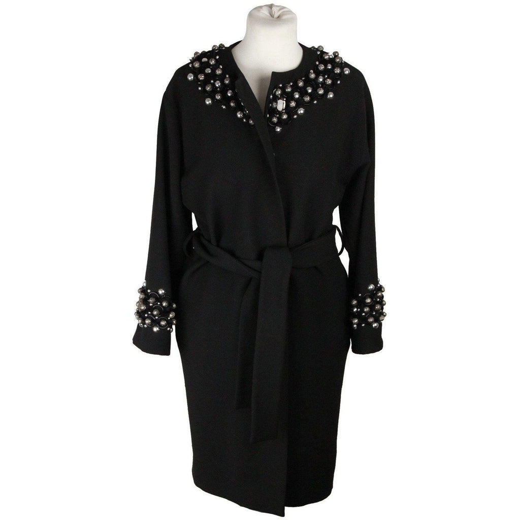 Dolce & Gabbana Black Virgin Wool Embellished Coat with Belt Size 38 - OPHERTY & CIOCCI