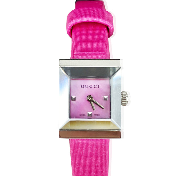 Gucci Pink Satin G Frame Ladies Watch 1285 Never Worn
