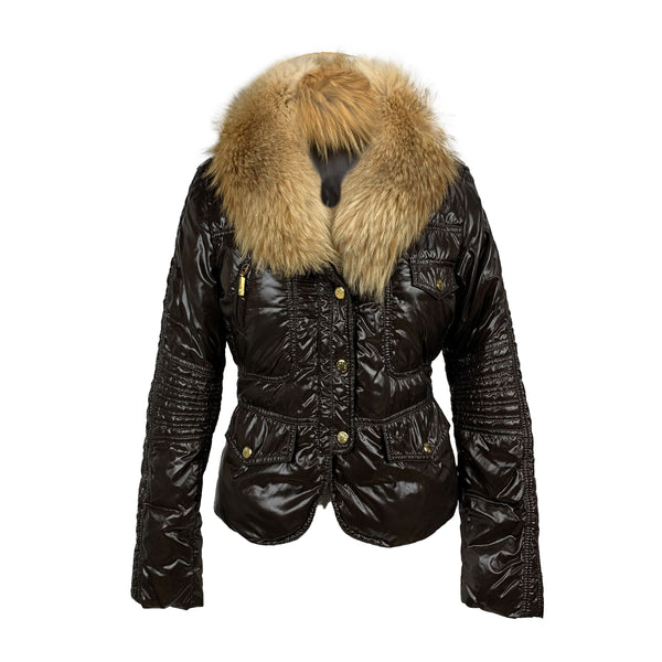 Moncler Dark Brown Shiny Nylon Down Padded Vegas Jacket Size 0