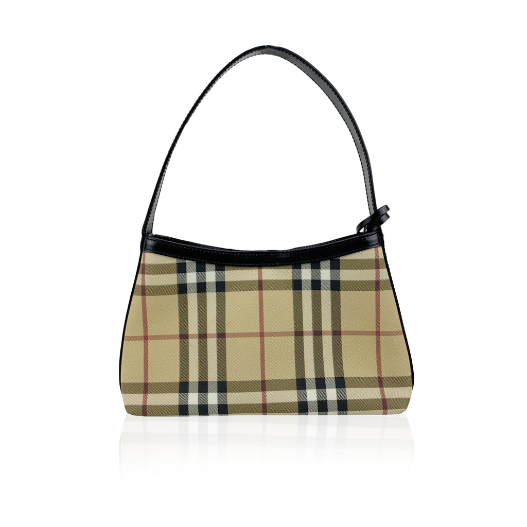 Burberry Beige and Black Nova Check Canvas Shoulder Bag