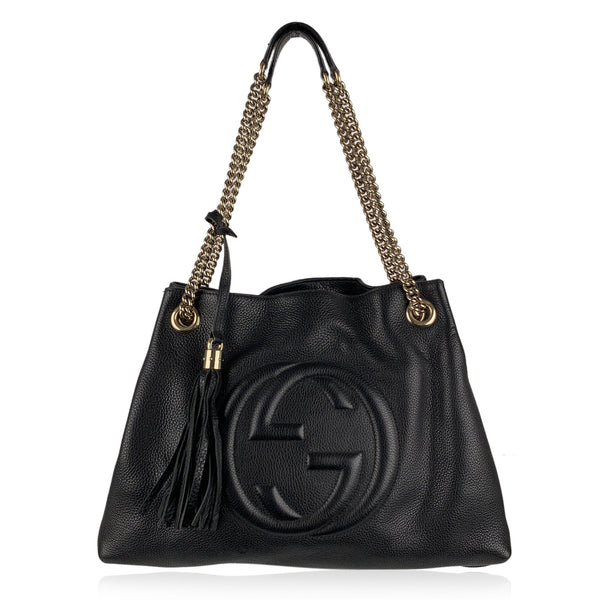 Gucci Black Leather Soho Chain Tote Shoulder Bag