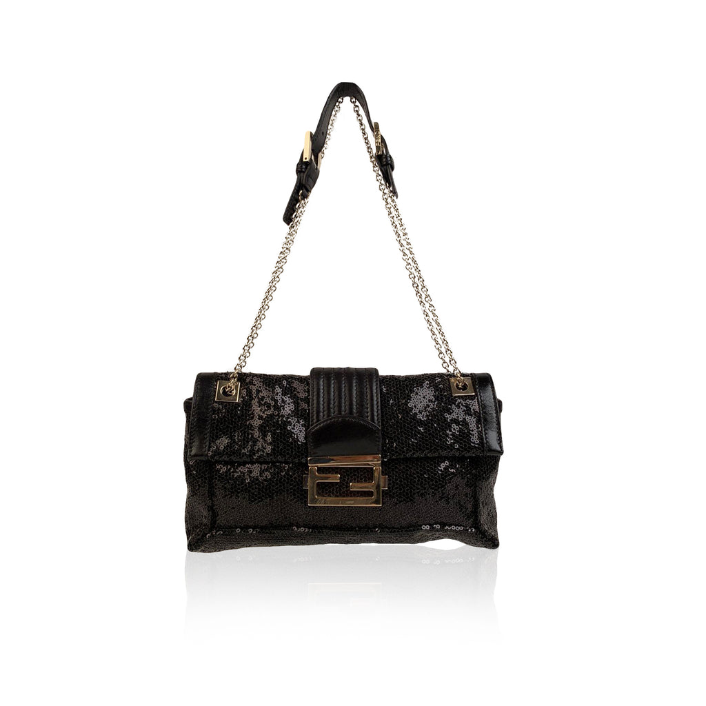 Fendi Black Sequin and Leather Baguette Chain Shoulder Bag