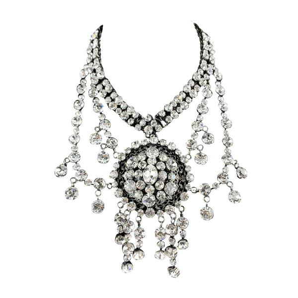 Gucci Silver Metal Crystal Embellished Cascade Necklace Never Worn