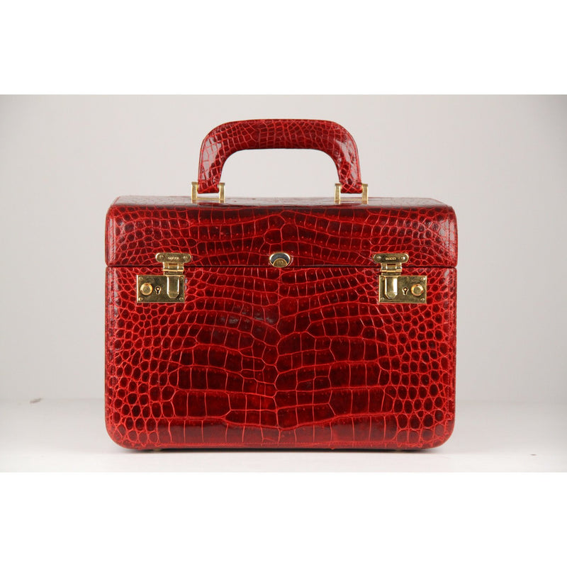 Burgundy Crocodile Travel Bag Train Case