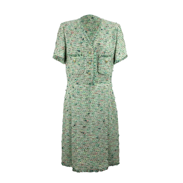 Vintage Green Tweed Sheath Short Sleeve Dress Size 46 IT