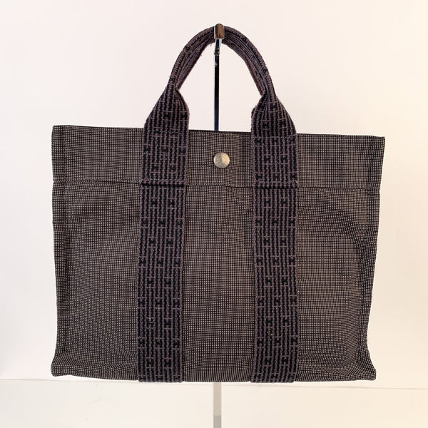 Hermes Paris Black and Gray Canvas Herline Her Line PM Tote Handbag
