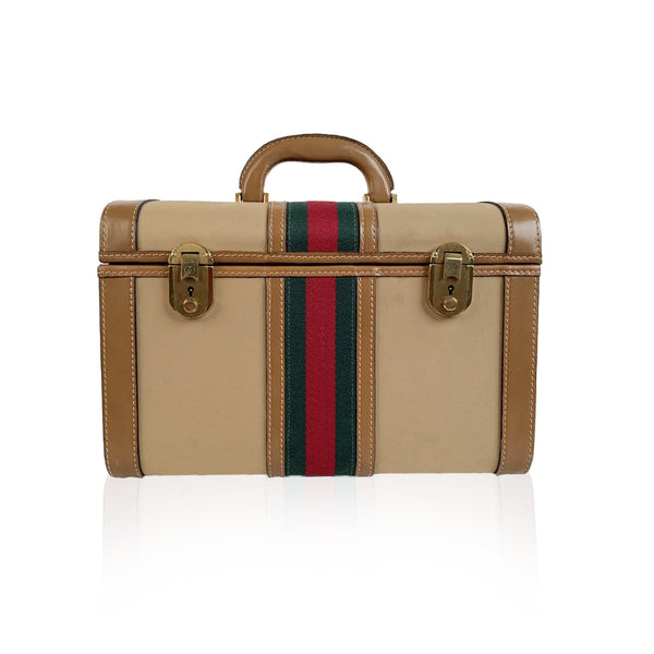 Gucci Vintage Beige Canvas Hard Train Case Beauty Bag - OPHERTY & CIOCCI