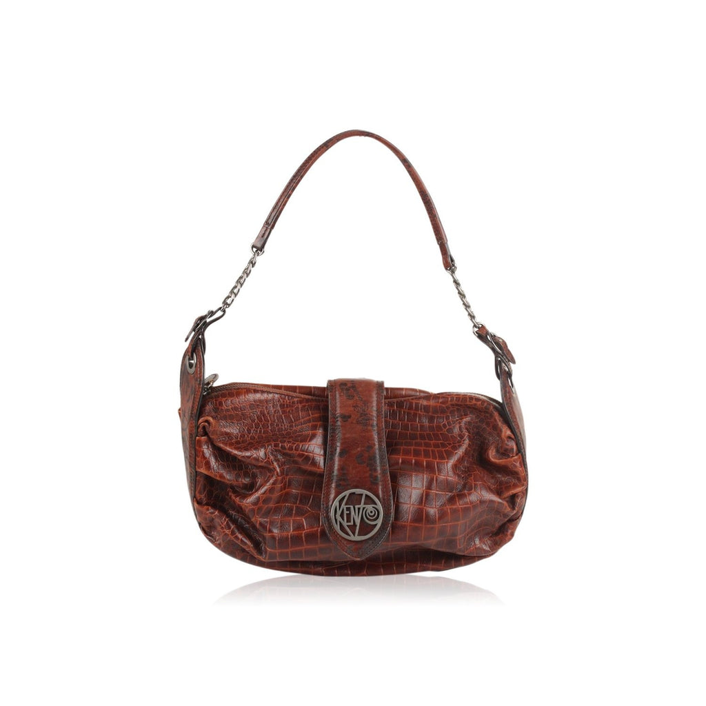 Embossed Croc Look Leather Shoulder Bag