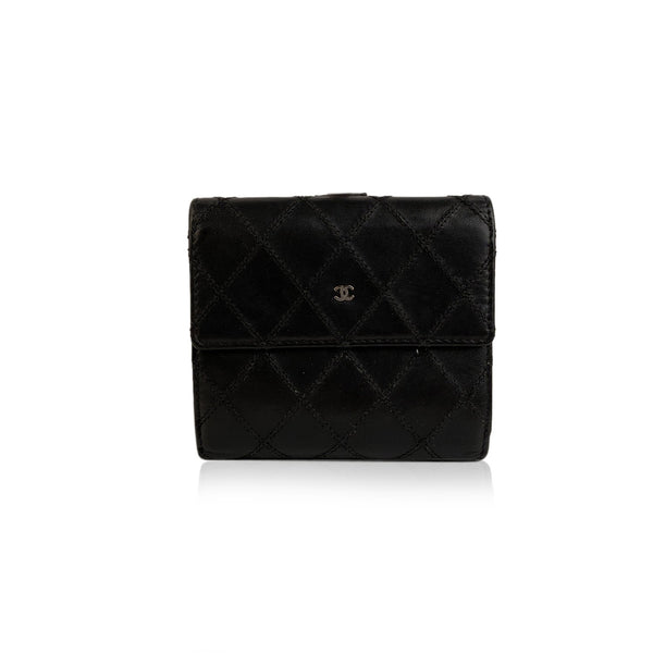 Chanel Black Quilted Leather Compact Flap Wallet with CC Logo