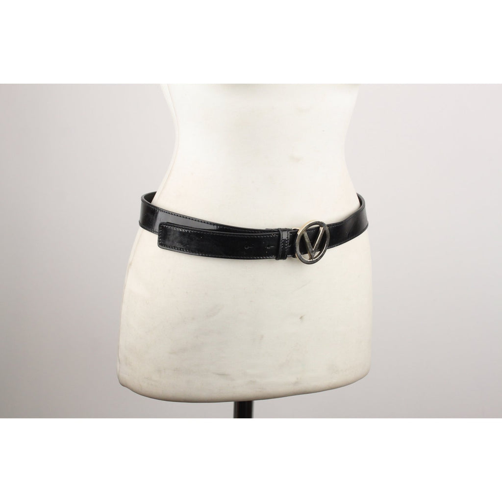 Valentino Vintage Black Patent Leather Belt Size 80/32