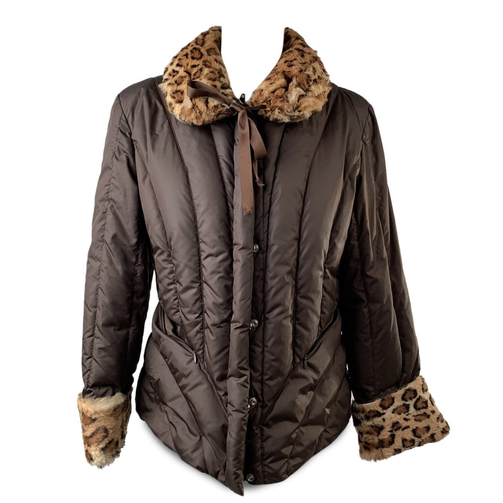 Blumarine Brown Padded Down Jacket with Leopard Faux Fur Trim Size 44 - OPHERTY & CIOCCI