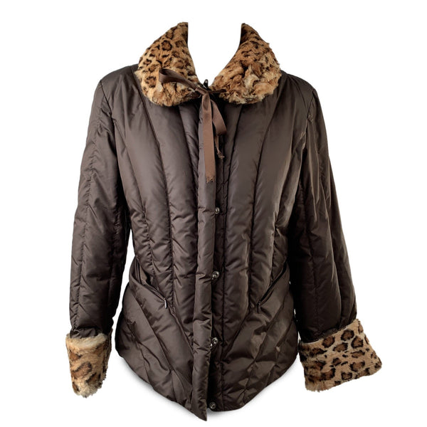 Blumarine Brown Padded Down Jacket with Leopard Faux Fur Trim Size 44