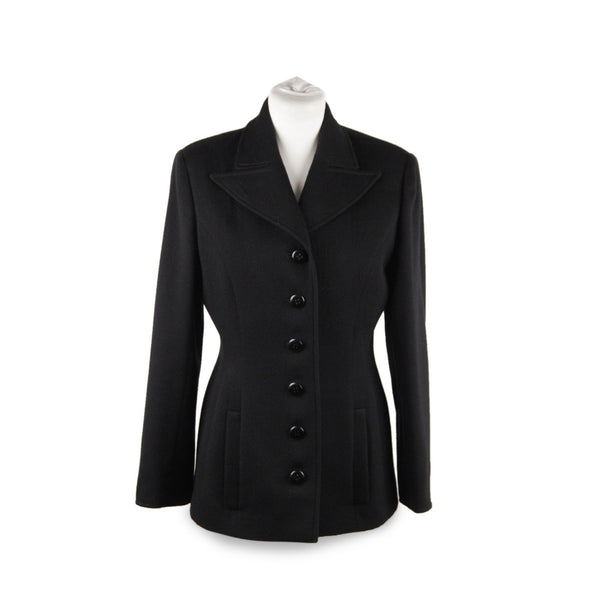 Valentino Boutique Vintage Black Wool Blazer Jacket Size 6