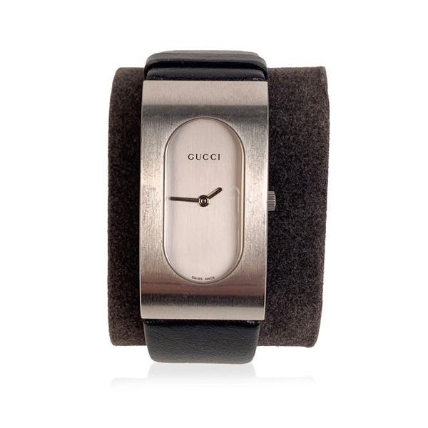 Gucci Stainless Steel Mod 2400 L Wrist Watch Black Leather