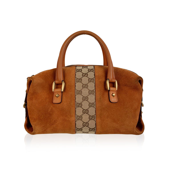 Gucci Orange Suede and Monogram Canvas Boston Top Handle Bag