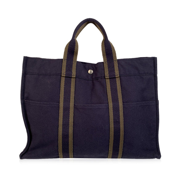 Hermes Paris Vintage Navy Blue Cotton Tote Handbag Fourre Tout MM