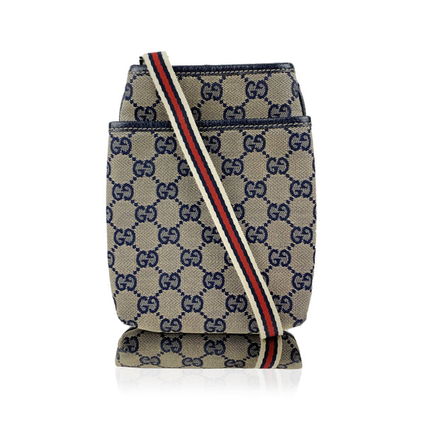 Gucci Blue Monogram Canvas Small Crossbody Messenger Bag