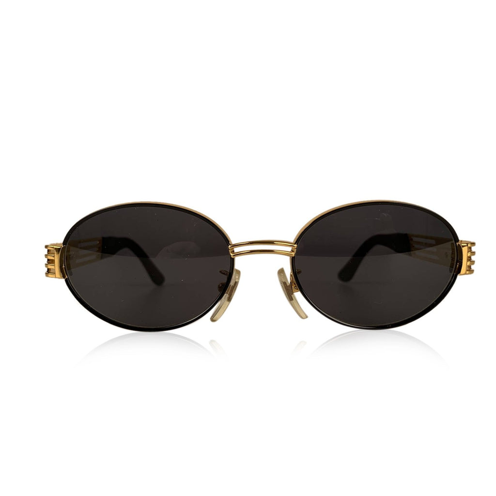 Lozza Vintage Black and Gold Sunglasses Mod. SL 1085 New Old Stock