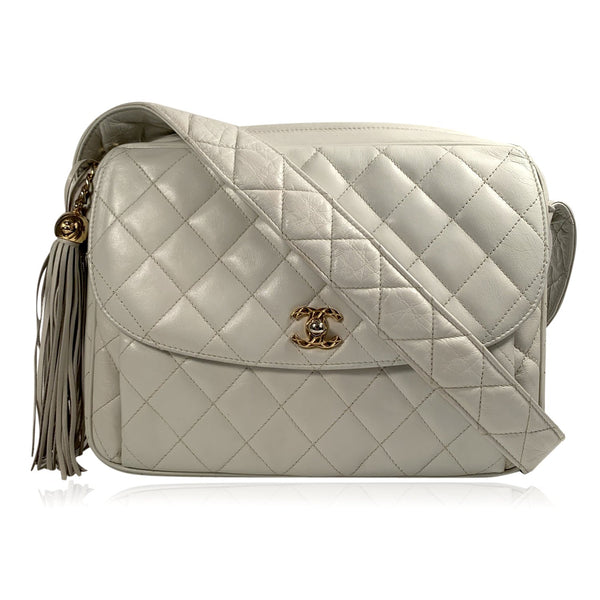 Chanel Vintage Off White Quilted Leather Tassel Messenger Bag