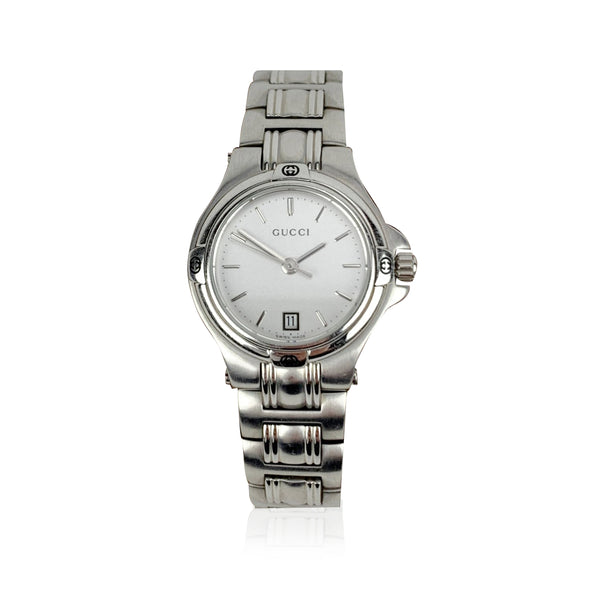 Gucci Stainless Steel Mod 9040 L Wrist Watch White Dial