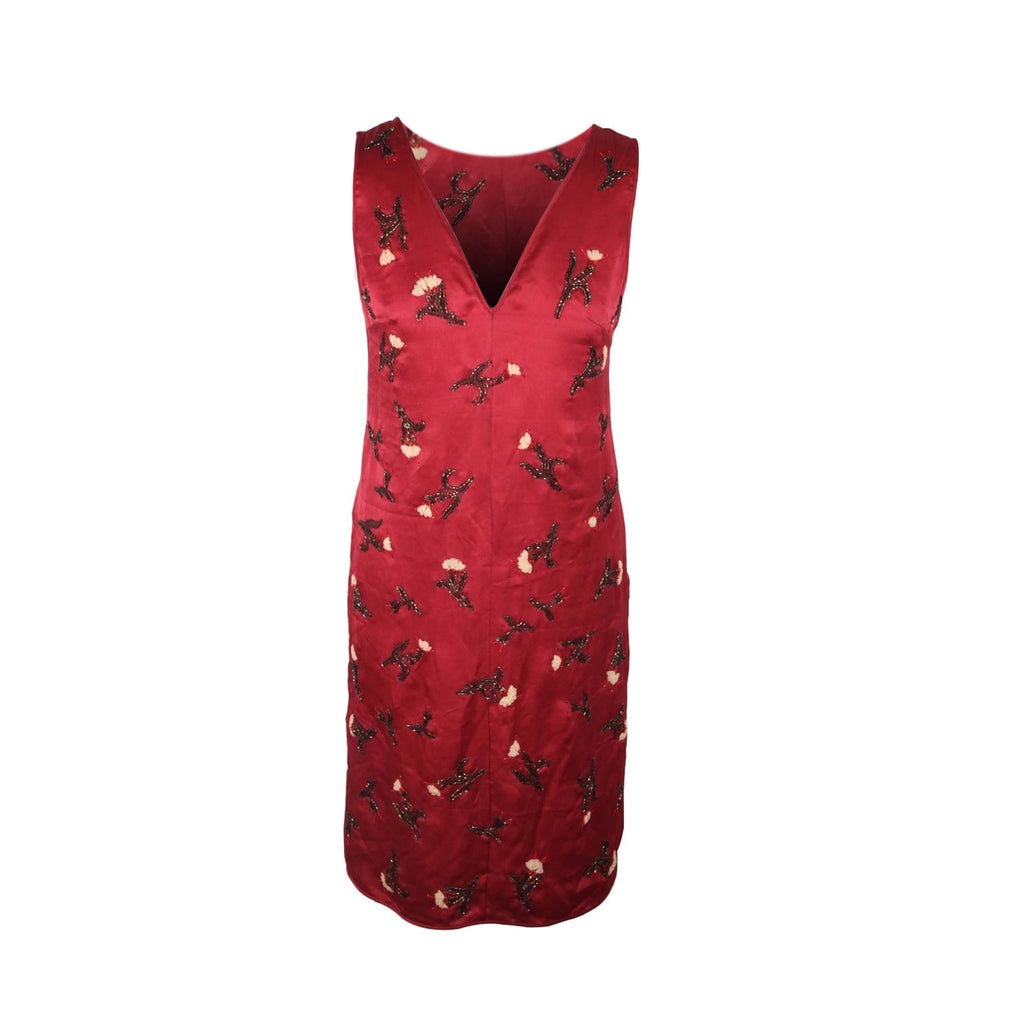 Prada Red Silk Sleeveless Cocktail Dress with Beading Size 40 IT