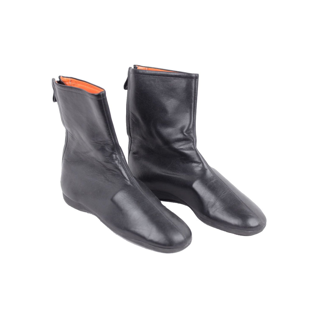 Calvin Klein Black Leather Ankle Boots Shoes Flat with Rubber Sole