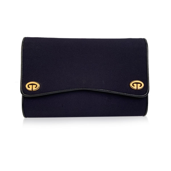Gucci Vintage Blue Fabric Evening Bag Shoulder Bag Clutch with Chain