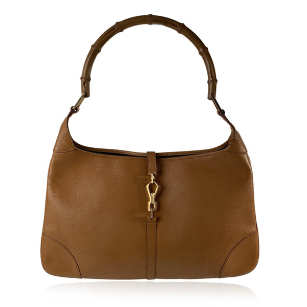Gucci Tan Leather Hobo Jackie O Flat Shoulder Bag with Bamboo Handle