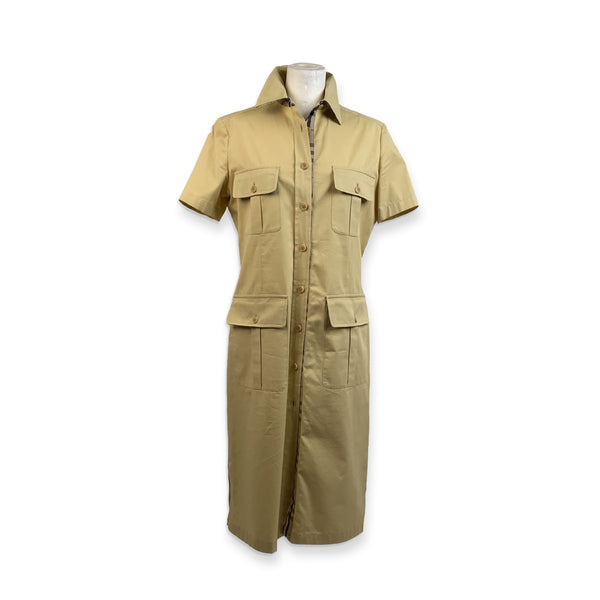 Burberry Vintage Cream Cotton Short Sleeve Shirt Dress Size 42 - OPHERTY & CIOCCI